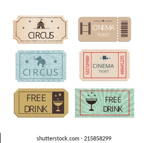 Vintage cinema  circus and party tickets vector set showing perforated entry tickets with icons depicting free drink  elephant and the Big Top with two Free Drink tickets for refreshments
