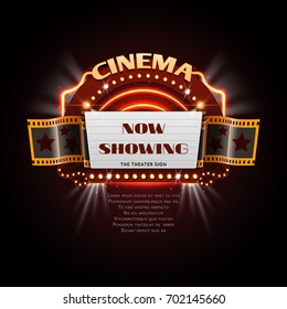 Vintage cinema sign. Glowing movie signboard with lightbulb frame vector illustration. Signboard vintage movie, frame decoration billboard cinema