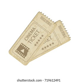 vintage cinema tickets on white background - Vector