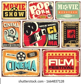 Vintage cinema tin signs collection. Movie industry vector posters or billboards set. Vintage film collectible advertisements.
