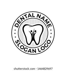 vintage circle Dental family badge emblem  people care logo vector icon