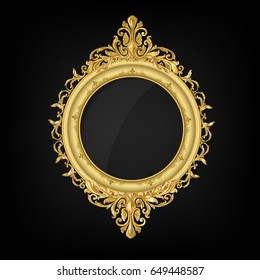 vintage circle gold picture frame
