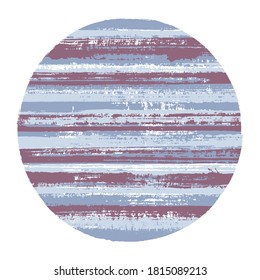 Vintage circle vector geometric shape with striped texture of paint horizontal lines. Disk banner with old paint texture. Badge round shape logotype circle with grunge background of stripes.