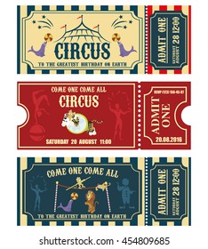 Vintage Circus banner collection. Ticket invitation.