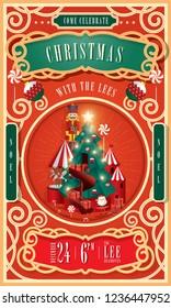 vintage circus christmas invitation card template vector/illustration