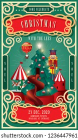 vintage circus christmas invitation card template vector/illustration
