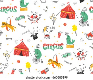 Vintage Circus Doodle Seamless Background With Tent Animals And Clown