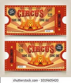 Vintage Circus Entry Tickets/ Illustration of two circus tickets, with big top, free entry and admit one coupon mention, come one come all text elements for arts festival events, with front and back