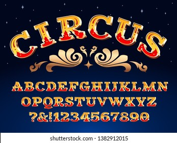 Vintage circus font. Victorian carnival headline signage. Typeface steampunk alphabet sign vector illustration