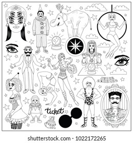 Vintage circus illustrations collection. Flash tattoes set. Lineart illustrations for adult coloring book. Circus perfomers. Strong man, tattooed man, psychic, fortune teller, clown, entertainer.