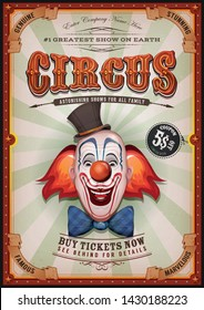 Vintage Circus Poster With Clown Head/ Illustration of retro and vintage circus poster background, with design clown face and grunge texture for arts festival events and entertainment background