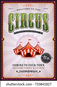Vintage Circus Poster With Sunbeams/ Illustration of a vintage circus poster background, with green and violet colors, floral patterns, red and blue big top, elegant titles and grunge texture