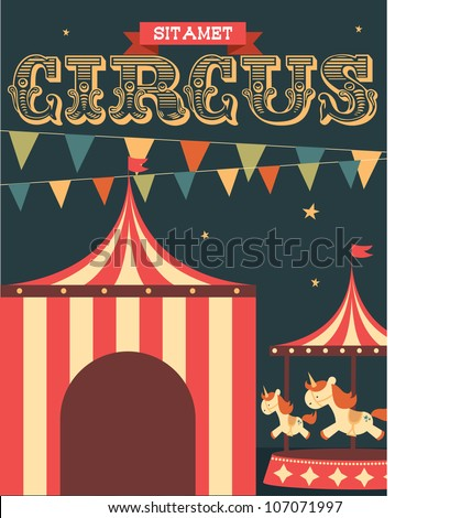 Vintage Circus Poster Template Vector Illustration