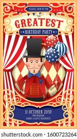 vintage circus ringmaster birthday  invitation card design template vector/illustration