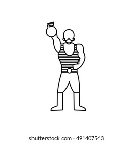 Vintage circus strong man icon in outline style isolated on white background vector illustration