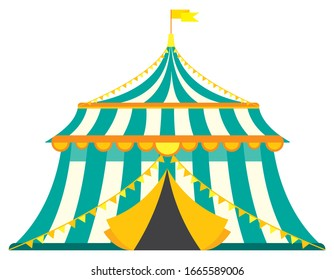 Vintage circus tent. Illustration in cartoon style isolated on white background.