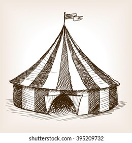 Vintage circus tent vehicle sketch style vector illustration. Old engraving imitation.