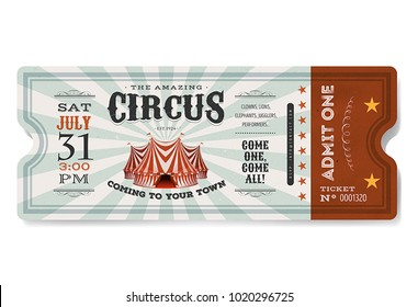 Vintage Circus Ticket/ Illustration of a vintage and retro design circus ticket, with big top, admit one coupon mention, bar code and text elements for arts festival and events