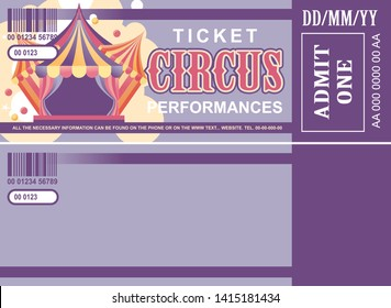 vintage circus ticket for a magic show, carnival or amusement park, vector template two sides isolated, isolated on white background