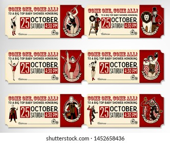 Vintage Circus Tickets. The Lion Tamer, The Clown, The Circus Strong Woman, The Circus Magician, The Circus Fire Eater, The Gymnast Girl. Vector illustration.