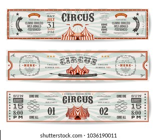 Vintage Circus Website Banners Templates/ Illustration of a set of retro design circus web header templates, with big top, banners, floral patterns and ornaments on wide sunbeams background