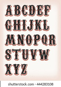 Vintage Circus And Western ABC Font/ Illustration of a set of retro circus abc typefont, on vintage and grunge background