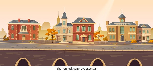 Vintage city autumn street with european colonial victorian buildings and lake promenade. 19th century town with old architecture. Retro style cityscape at river shore, Cartoon vector illustration