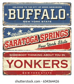 Vintage city label. Vintage tin sign collection with US cities. Buffalo. Saratoga. Yonkers. New York. Retro souvenirs or postcard templates on rust background in New York state.