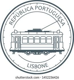 Vintage city tram - tramway in Lisbon, Portugal emblem, outline of retro tramcar