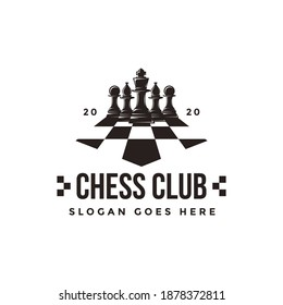 Vintage classic badge emblem chess club, chess tournament logo vector icon on white background