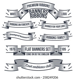 Vintage classic banners and ribbons in style of engraving or tattoo, for coats of arms or logo. Text is grouped separately and can be easily removed.