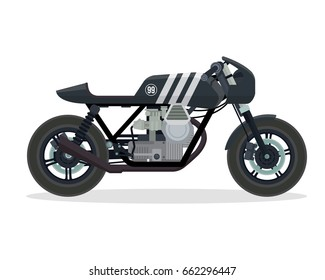 Vintage Classic Cafe Racer Motorcycle Illustration