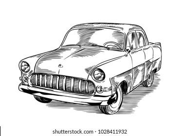 Vintage classic car. Line art vector illustration