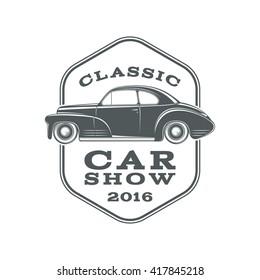 Vintage, classic car show label template. Vector illustration.
