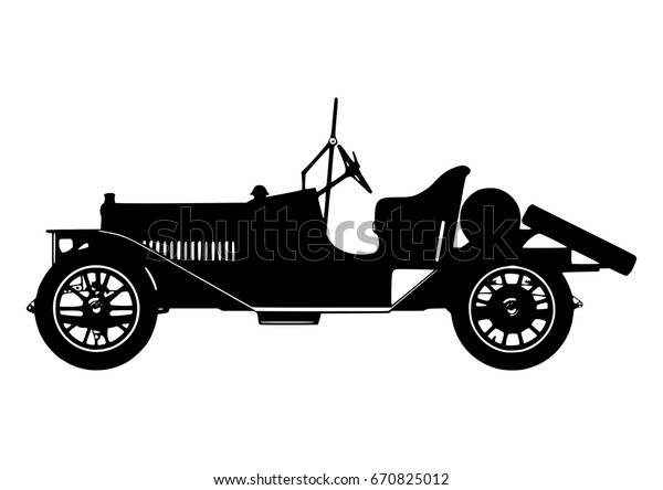 Vintage Classic Car Silhouette Vector Stock Vector Royalty Free