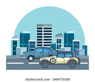 Vintage and classic cars modern vehicles riding in the city urban background vector illustration graphic design.