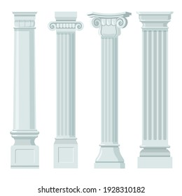 Vintage classic columns flat set for web design. Cartoon pillars with ornament in renaissance or roman style for facade isolated vector illustrations. Furniture, building and interior concept