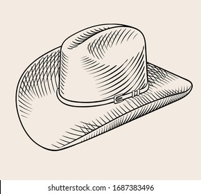Vintage classic cowboy hat. High quality engraved style vector line art illustration drawing.
