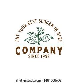 Vintage classic farming logo design with tobacco plant graphics