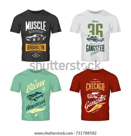 82158f5c9 Vintage classic gangster and muscle car vector t-shirt logo mock up set.  Premium