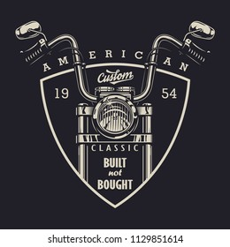 Vintage classic motorbike logotype with motorcycle and inscriptions on dark background isolated vector illustration