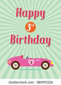 Vintage Classic Old Car Happy 3rd Birthday Card