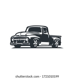 vintage classic truck. oldscool side view vector