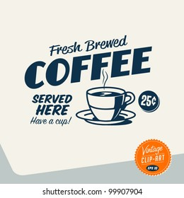 Vintage Clip Art - Fresh Brewed Coffee - Vector EPS10.