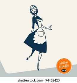 Vintage Clip Art - Happy Maid - Vector EPS10.