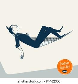Vintage Clip Art - Man relaxing in Hammock - Vector EPS10.