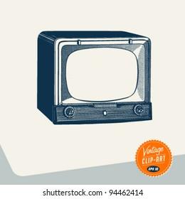 Vintage Clip Art - Television - Vector EPS10.