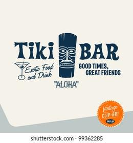 Vintage Clip Art - Tiki Bar - Vector EPS10.