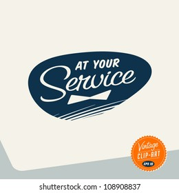 Vintage Clip Art - At Your Service - Vector EPS10