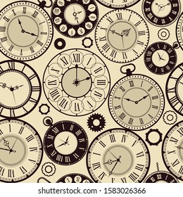 Vintage clock pattern. Old retro watches vector seamless background vector fast time concept